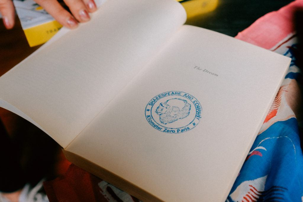 A stamped book from Shakespeare and Company, the famous Parisian bookstore