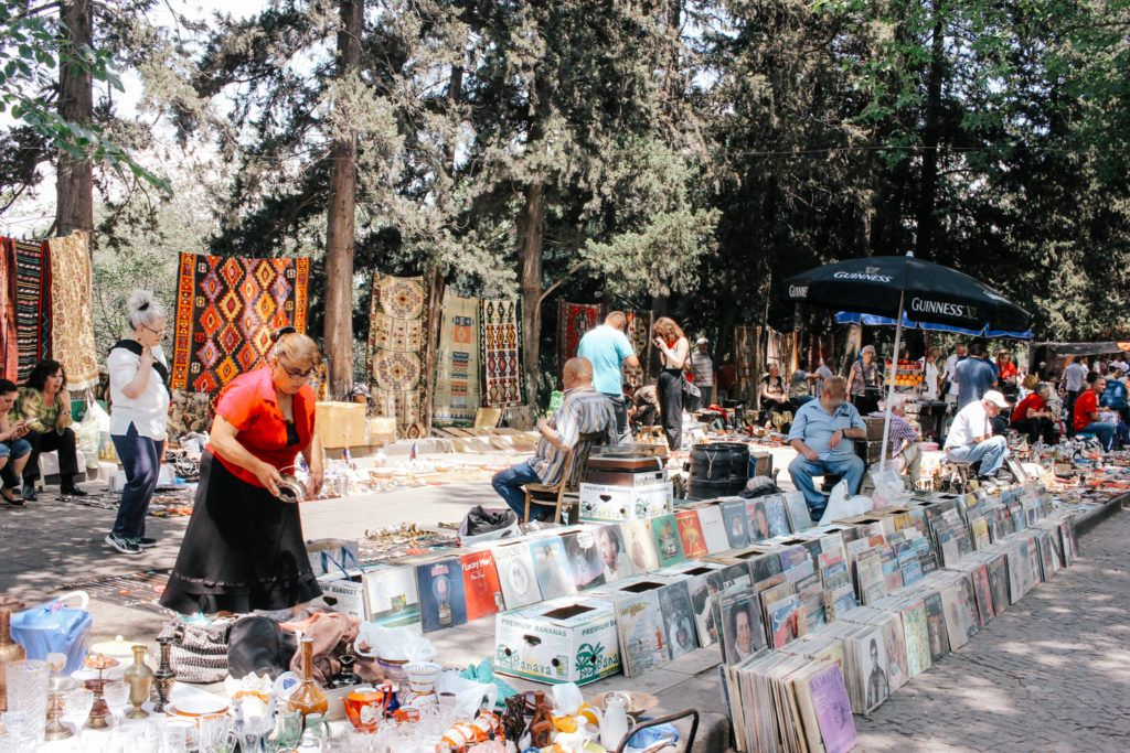 The busy Dry Bridge Market in Tbilisi