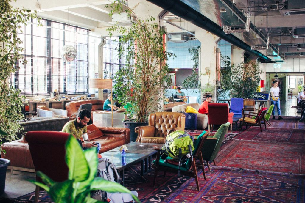 The lobby at Fabrika, Tbilisi's coolest hostel