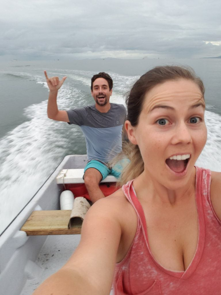 Riding in a fast boat in Fiji