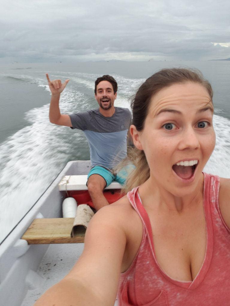 Riding in a fast boat in Fiji