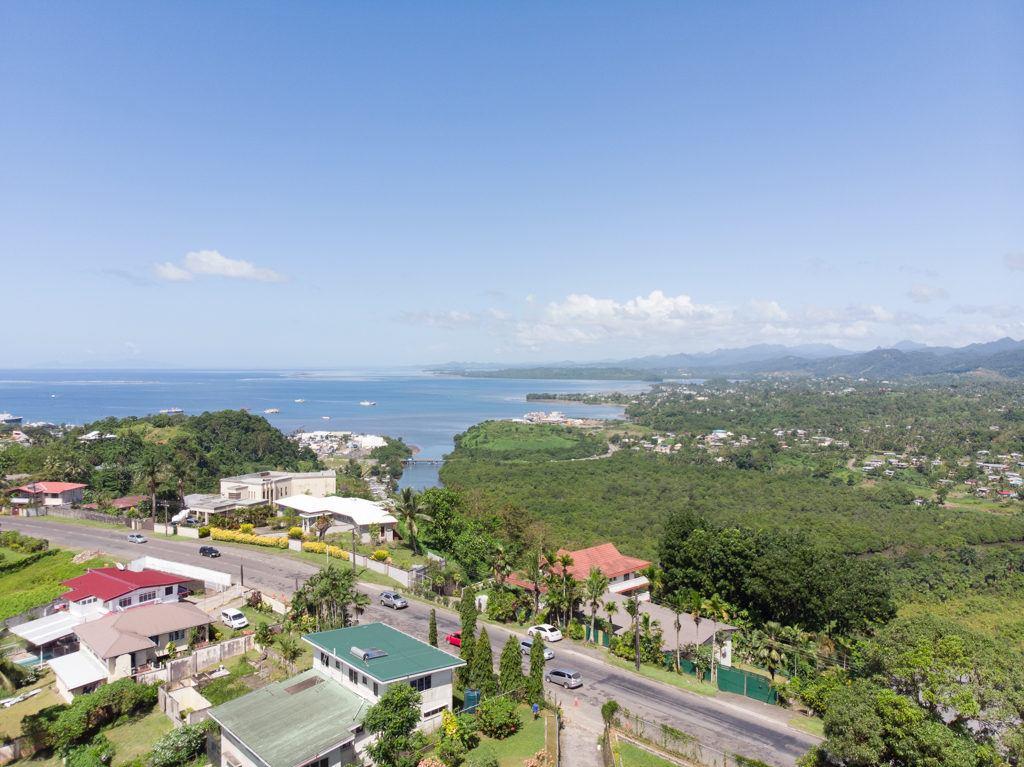 A drone shot of Suva, Fiji